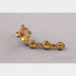 Two Antique 18kt Gold and Citrine Jewelry Items