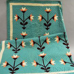 Light Green Carolina Lily Appliqued Quilt