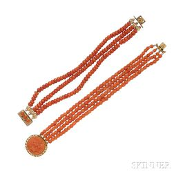 Two Antique Gold and Coral Bracelets