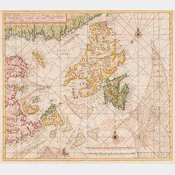 Canada, Northeast Coast, Newfoundland. Gerard van Keulen (1678-1726) Carte Nouvelle Contenant la Partie dAmerique le plus Septentriona