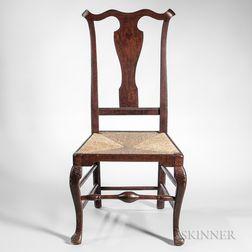 Carved Tiger Maple Side Chair
