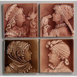 Four Trent Tile Company Art Pottery Tiles