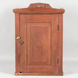 Red-painted Pine Hanging Cupboard