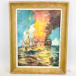 American School, 20th Century    Painting of a Burning Naval Vessel