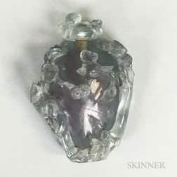 Carved Tourmaline Snuff Bottle