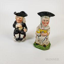 Martha Gunn and Dr. Johnson Staffordshire Ceramic Toby Jugs