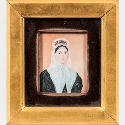 American School, Early 19th Century      Portrait Miniature of Nancy Morrison Merrill (1796-1860)
