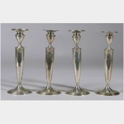Set of Four Sterling Silver Classical Revival Candlesticks