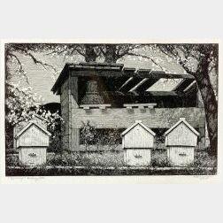 Lot of Four Prints:  Alfred R. Burrell (American, b. 1877), Oaks