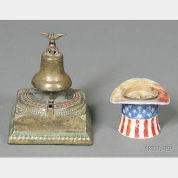 Cast Iron Centennial Liberty Bell Bank and a Taft/Sherman Milk Glass Hat Bank