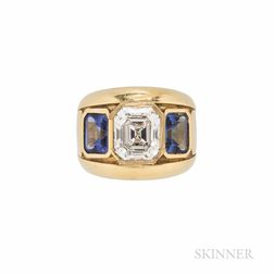18kt Gold, Diamond, and Tanzanite Ring