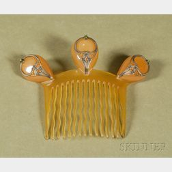 Art Nouveau Horn and Metal-mounted Hair Comb