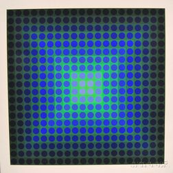 Victor Vasarely (French/Hungarian, 1906-1997)      Permutations (Blue Dots on Green).