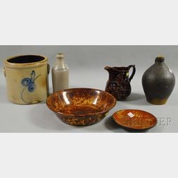 Six Pieces of Assorted Stoneware and Pottery