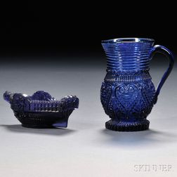 Cobalt Blue Blown Three-mold Creamer and Pressed Pattern Sidewheeler Salt