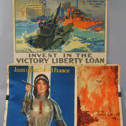 Three U.S. WWI Lithograph Bond and War Savings Stamps Posters