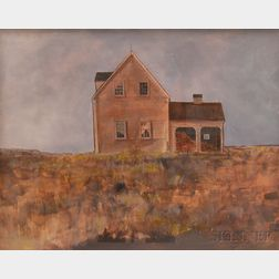 Attributed to Edmund D. Lewandowski (American, 1914-1998)      House in an Open Field Against a Gray Sky.