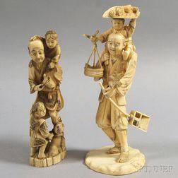 Two Ivory Okimono