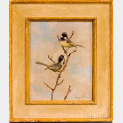 American School, 20th Century      Chickadees on a Branch.