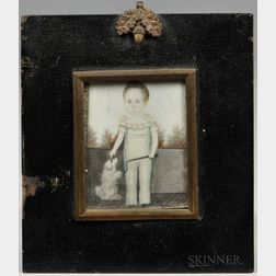 Anglo-American School, Early 19th Century      Portrait Miniature of a Boy and His Dog
