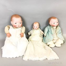 Two Bisque Head Grace Putnam Dolls and a German Doll