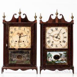 Two Connecticut Pillar & Scroll Shelf Clocks