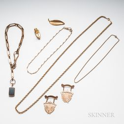 14kt Gold Leaf Brooch and a Group of Gold-filled Jewelry