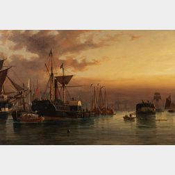Richard Henry Nibbs (British, 1816-1893)      European Harbor at Dusk