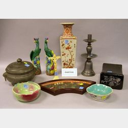 Ten Pieces of Assorted Chinese Porcelain, Four Pewter Table Items, an Ivory Crucifix, a Lacquer Pillow, an Ivory and Hardstone Panel, a