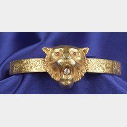 Art Nouveau 14kt Gold and Gem-set Bangle, Carter, Howe & Co.