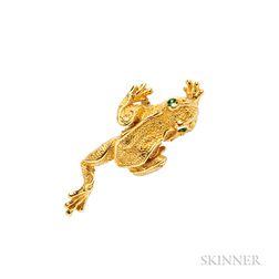18kt Gold Frog Brooch