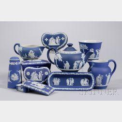 Ten Small Wedgwood Dark Blue Jasper Dip Items