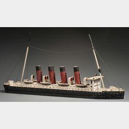 Painted Scratch-built Wood Model of the British Ocean Liner LUISITANIA