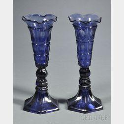 Pair of Sandwich Pressed Four-Printie Block Pattern Glass Vases