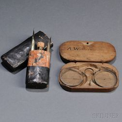 Cased Pair of Nuremberg Spectacles and a Traveling Writing Case