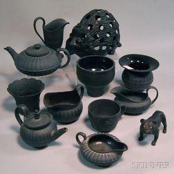 Twelve Wedgwood Black Basalt Items