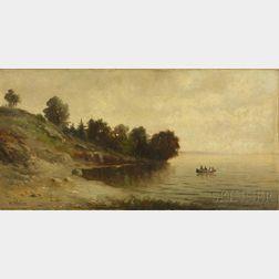 Wesley Elbridge Webber (American, 1841-1914)      Lake Shore with Canoe