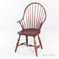 Red-painted Windsor Continuous-arm Bow-back Chair