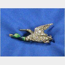 Antique Enamel and Diamond Pin