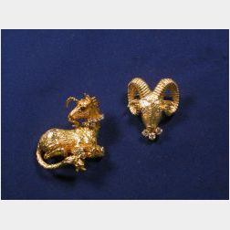 Two Gold and Diamond Brooches