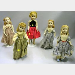 Five Hard Plastic Dolls