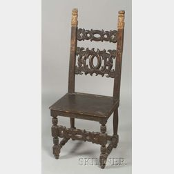 Continental Baroque Parcel Gilt Walnut Side Chair