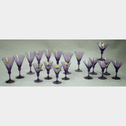 Seventeen-piece Fostoria Amethyst Glass Partial Stemware Set