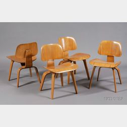 Four Charles and Ray Eames DCW Chairs