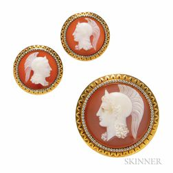 Antique Gold and Hardstone Cameo Suite