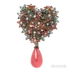 Vintage Glass Brooch, Attributed to Maison Gripoix