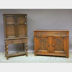 Nine-piece Kuchins Furniture Mfg. Co. Jacobean-style Carved Oak Dining Set