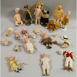 Group of Small Character Dolls and Parts