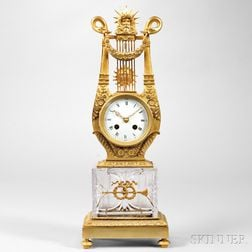 Gilt Bronze and Crystal Lyre Clock