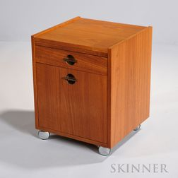 Danish-style Cube Bar  teak wood veneers, Masonite, metal, 20th century, the sides slightly elevated above a simple wooden top, above a